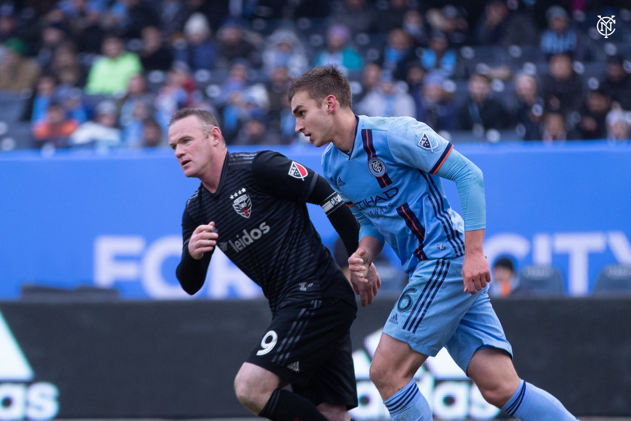 DC United's Wayne Rooney and NYCFC's James Sands